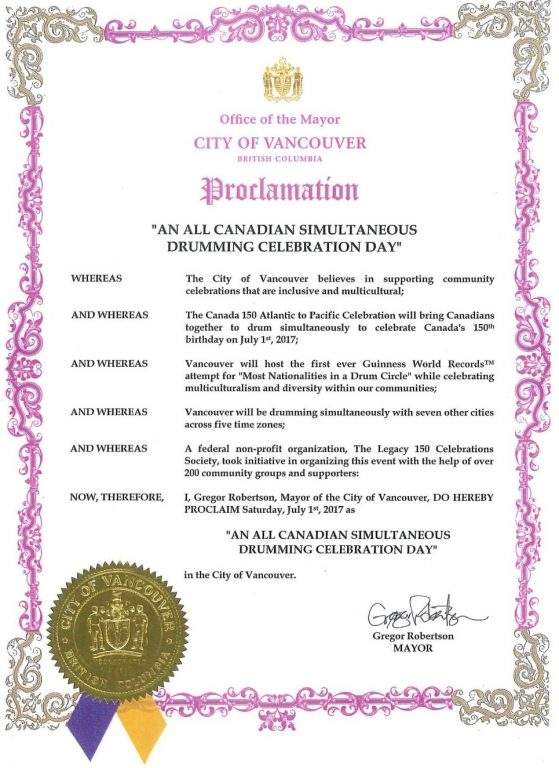 The City of Vancouver proclaimed July 1, 2017 (Canada Day) as being An All Canadian Simultaneous Drumming Celebration Day.