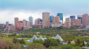 Edmonton river valley and sky line in the spring.