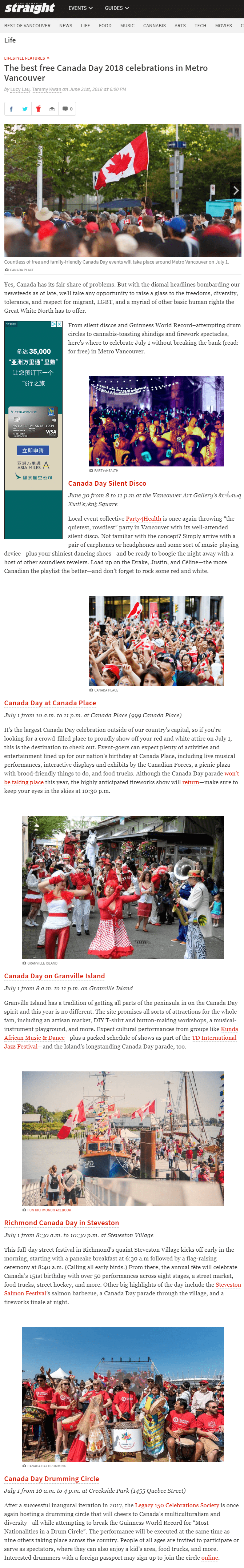 In the Media - 2018 News - Canada Day Drumming